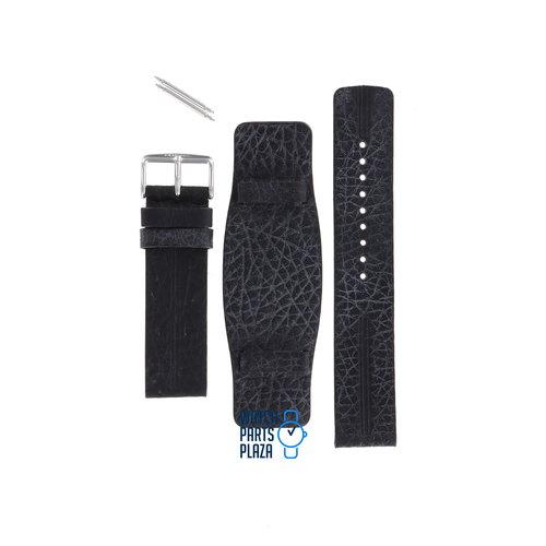 Fossil Fossil JR8214 Horlogeband Zwart Leer 22 mm