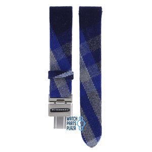 Burberry Burberry BU4512 Horlogeband Blauw Leer & Textiel 17 mm