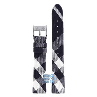 Burberry BU4304 Watch Band Black Leather & Textile 16 mm