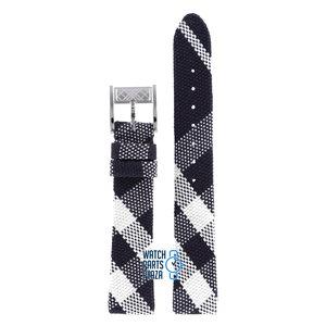 Burberry Burberry BU4304 Horlogeband Zwart Leer & Textiel 16 mm
