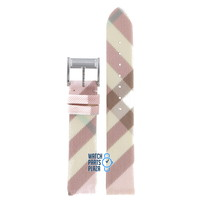 Burberry BU4507 Watch Band Pink Leather & Textile 17 mm