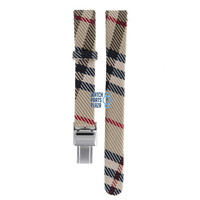 Burberry BU1015 Watch Band Beige Leather & Textile 13 mm