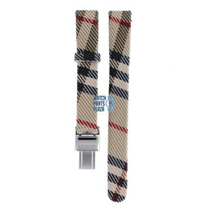 Burberry Burberry BU1015 Watch Band Beige Leather & Textile 13 mm