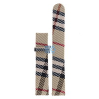 Burberry BU1014 Watch Band Beige Leather & Textile 17 mm