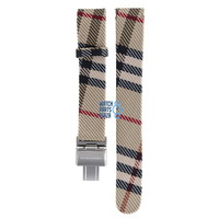Burberry BU1010 Watch Band Beige Leather & Textile 17 mm
