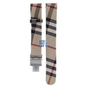 Burberry Burberry BU1010 Horlogeband Beige Leer & Textiel 17 mm