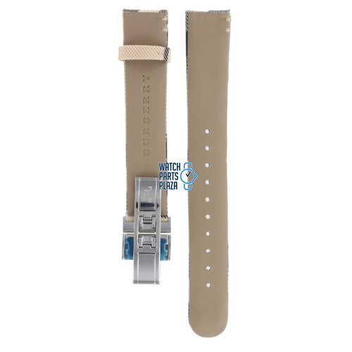 Burberry Burberry BU1008 Watch Band BU-1008 Beige Leather & Textile 17 mm