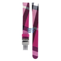 Burberry BU1025 Watch Band Pink Leather & Textile 13 mm