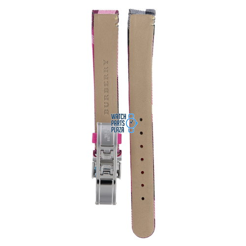Burberry Burberry BU1025 Watch Band BU-1025 Pink Leather & Textile 13 mm Heritage