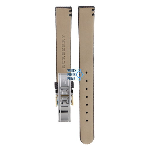 Burberry Burberry BU1017 Watch Band BU-1017 Brown Leather & Textile 13 mm
