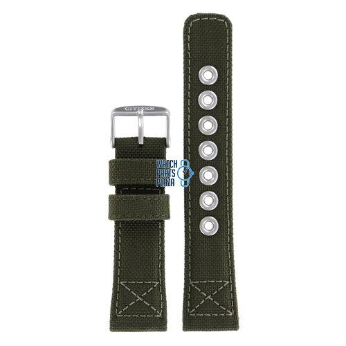 Citizen Citizen AW1410-16X & AW1410-32X Military Cinturino Dell'Orologio Verde Pelle e Tessuto 22 mm