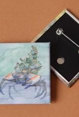 Nicole Pustelny Kaktuskrabbe, Button quadratisch 5,2 cm