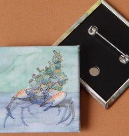 Nicole Pustelny Cactus crab, Button quadratic 5,2 cm