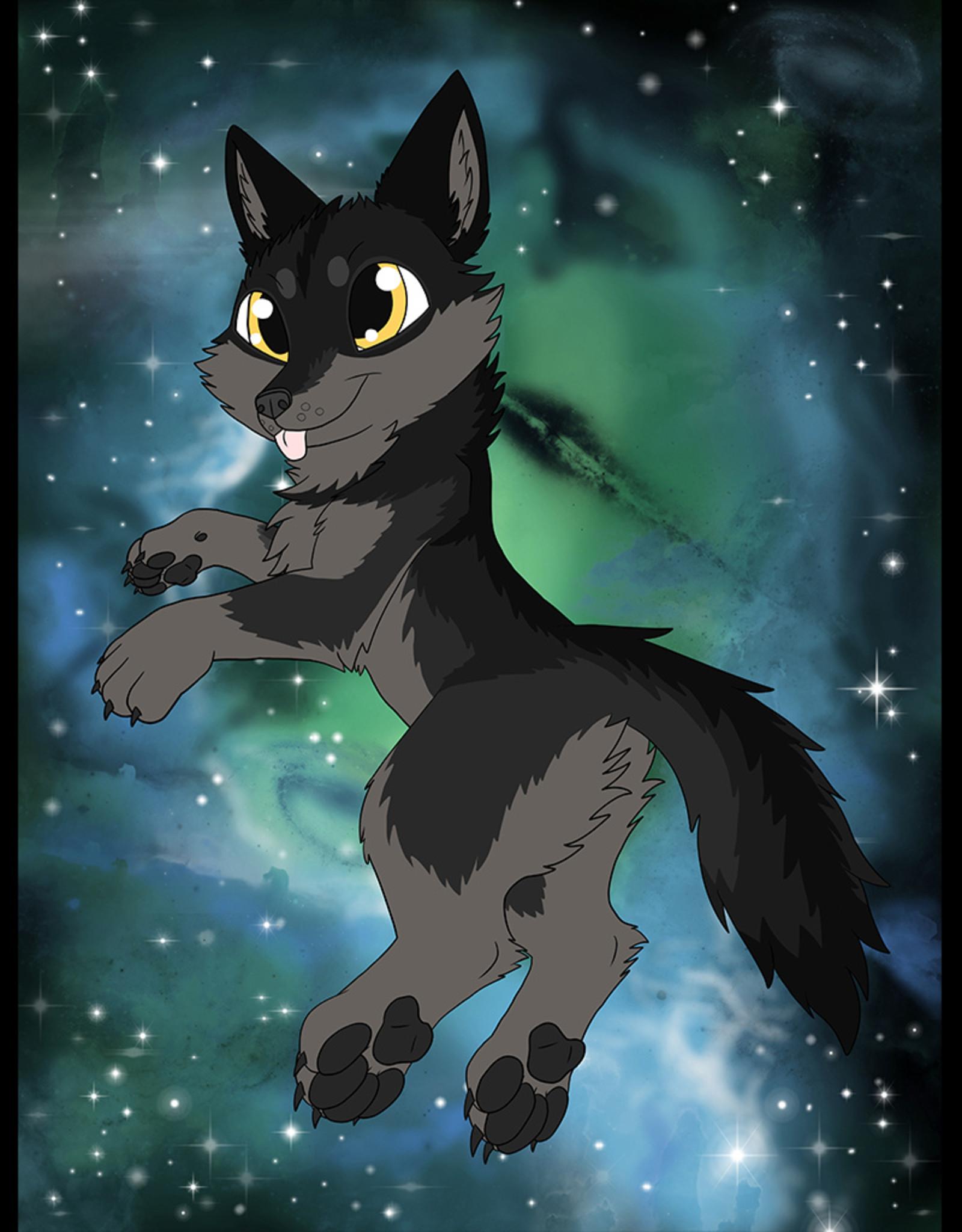 Kitty Fluff Flauschige Decke- Wolf (Schwarz)