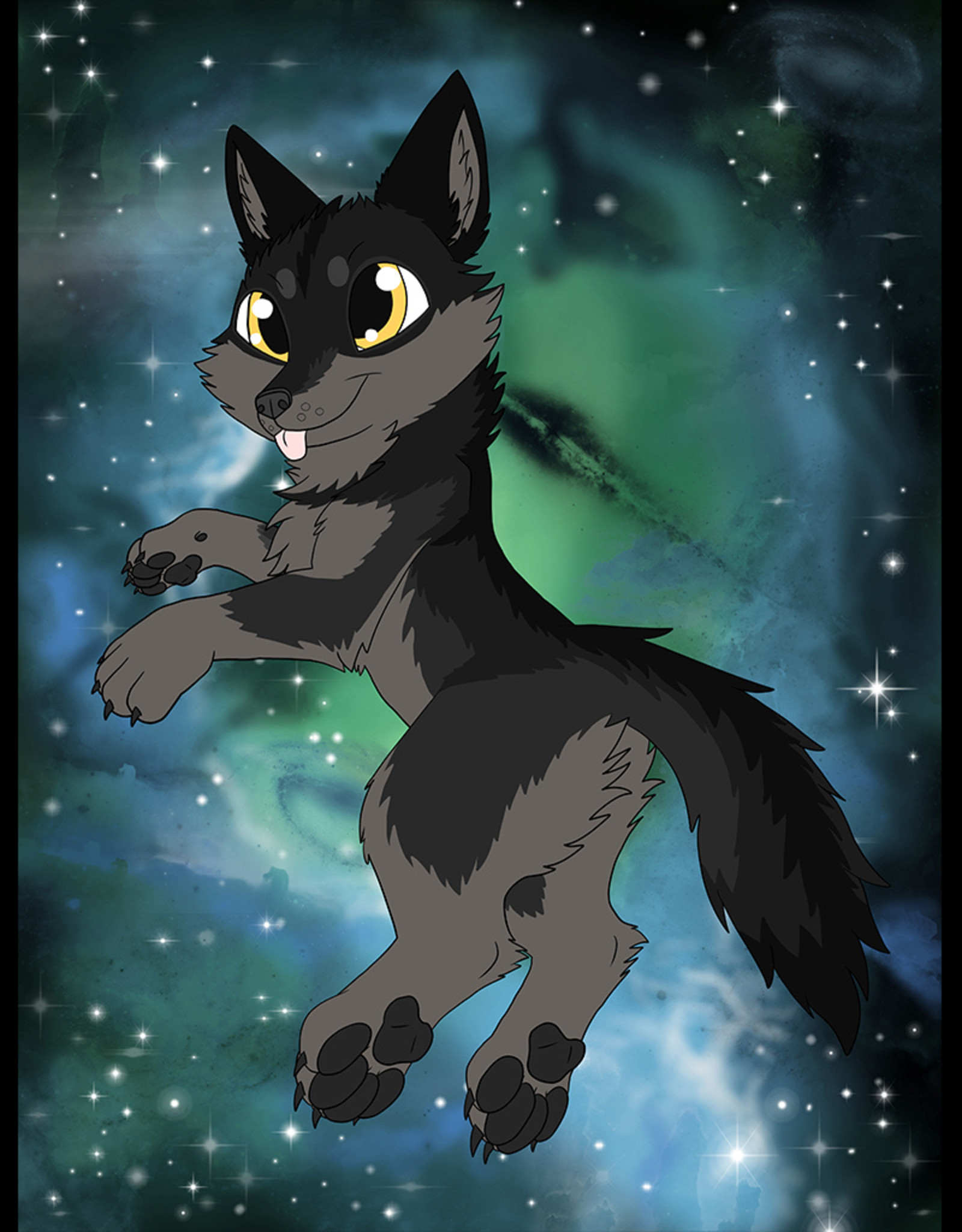 Kitty Fluff Fluffy Blanket- Wolf (Black)