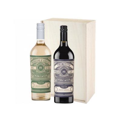 Farnese Vini Gran Sasso Tebbiano en Primitivo in houten kist