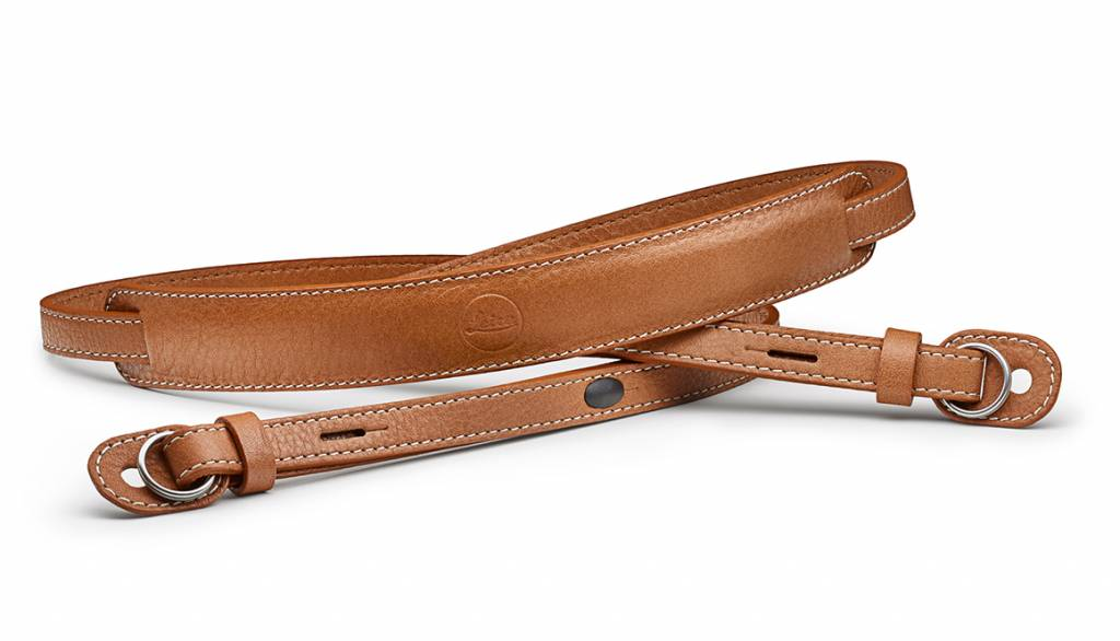 Leica Carrying strap with protecting flap, M / Q / X-system, leather, cognac
