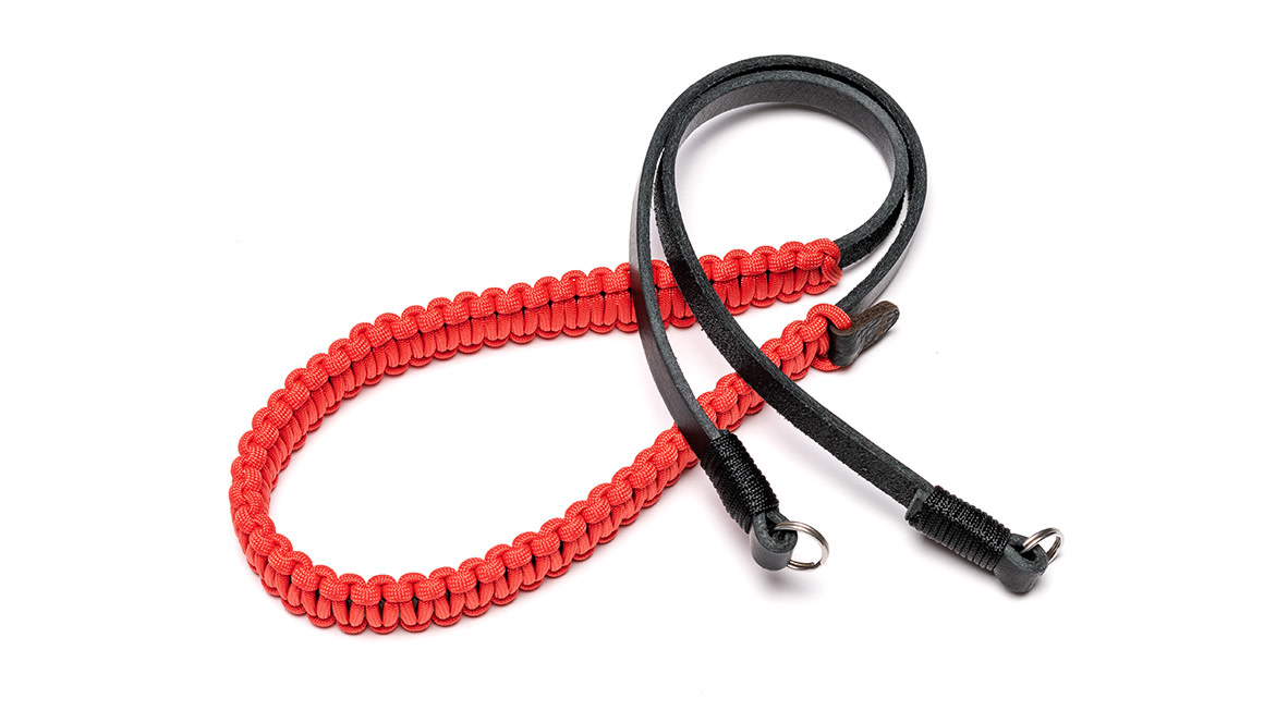 Leica paracord strap created by Cooph, black/red, 126cm