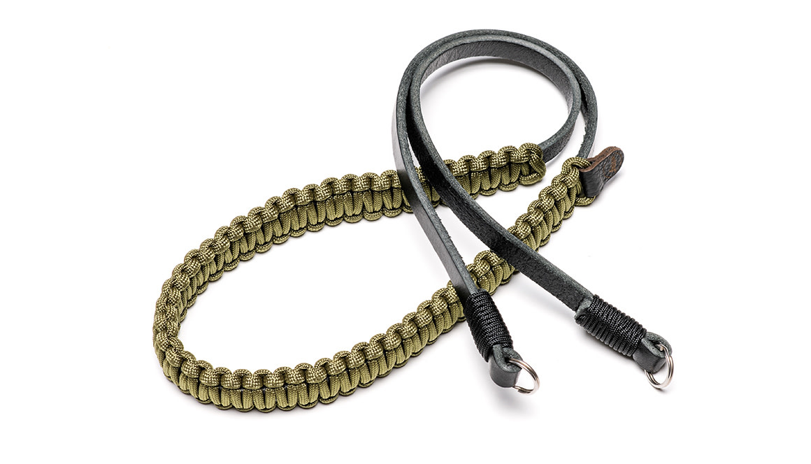 Leica paracord strap created by Cooph, black/olive, 100cm