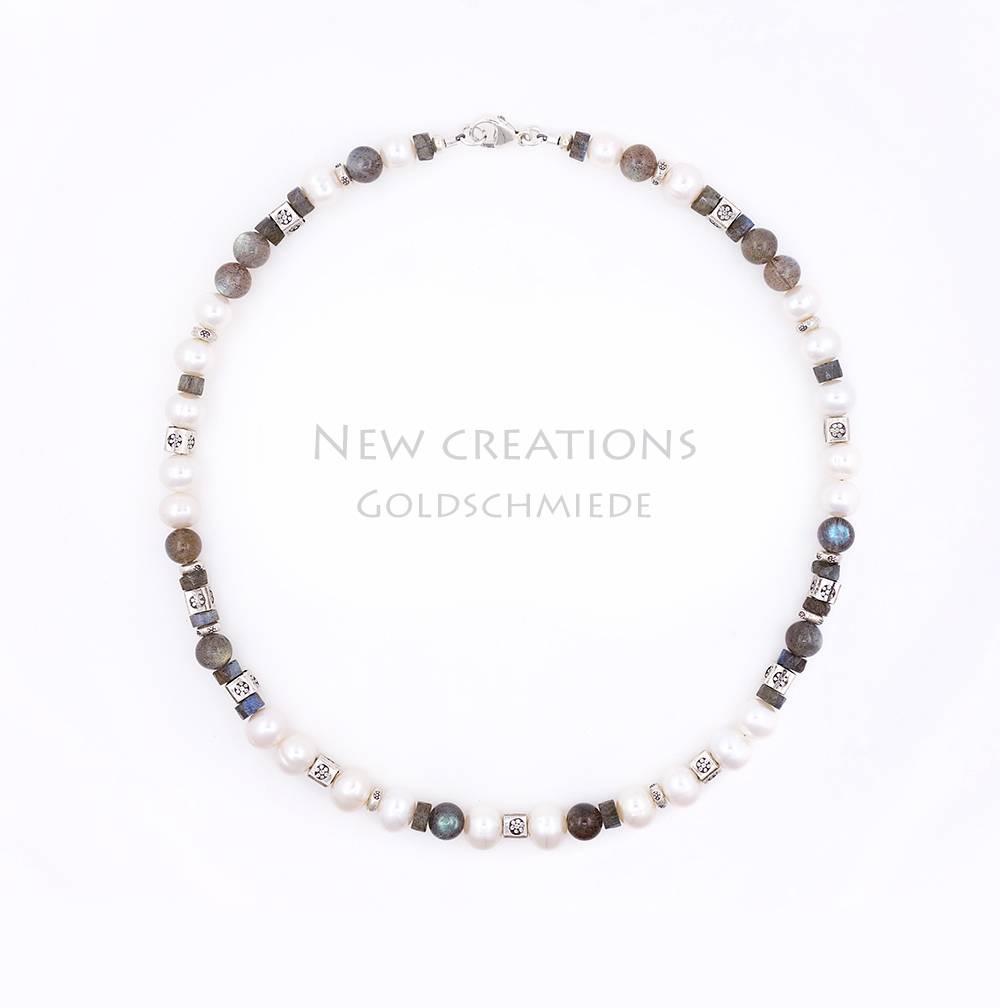 Halskette Labradorit, SW-Perle, Silberelemente, groß