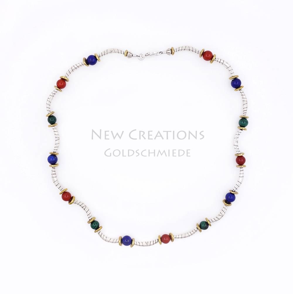 Halskette Silberbögen mit Farbedelsteinen