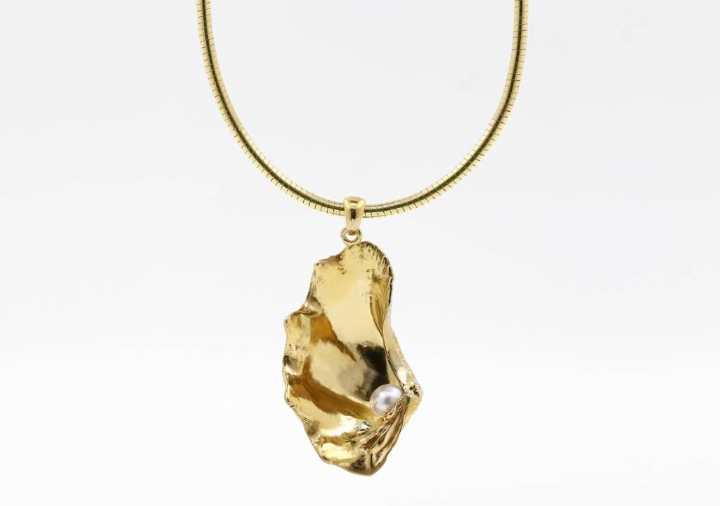 Muschel Anhänger Silber vergoldet mit Perle