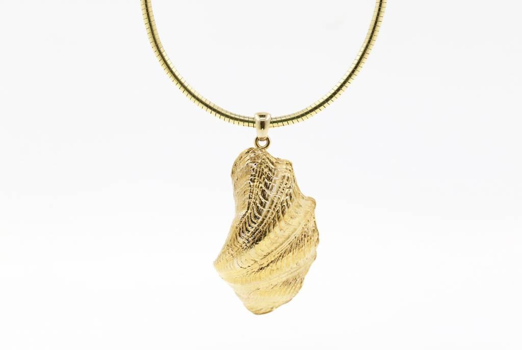 Muschel Anhänger aus 925er Silber vergoldet mit Perle