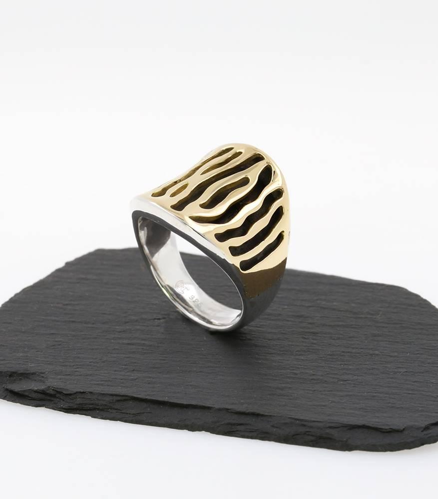 Zebra Ring aus 925er Silber und 750er Gelbgold