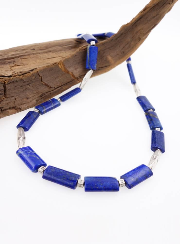 Halskette Lapis-Rechtecke, Silber