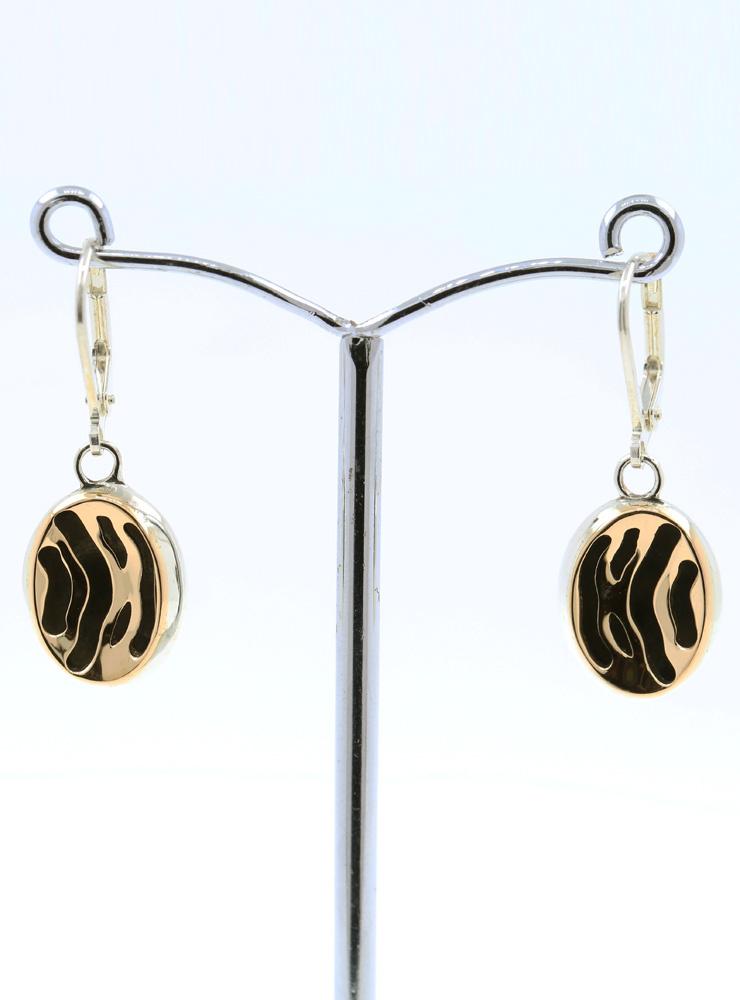 Zebra Ohrringe aus 925er Silber und 750er Gelbgold