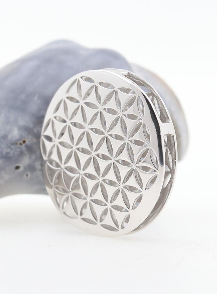 Blume des Lebens 2: Anhänger aus 925er Silber rhodiniert