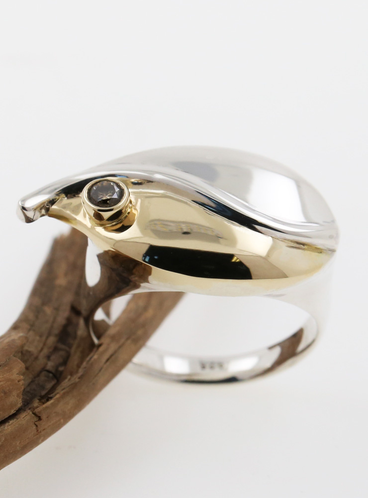 Ring Welle Bicolor, Champagner-Diamant