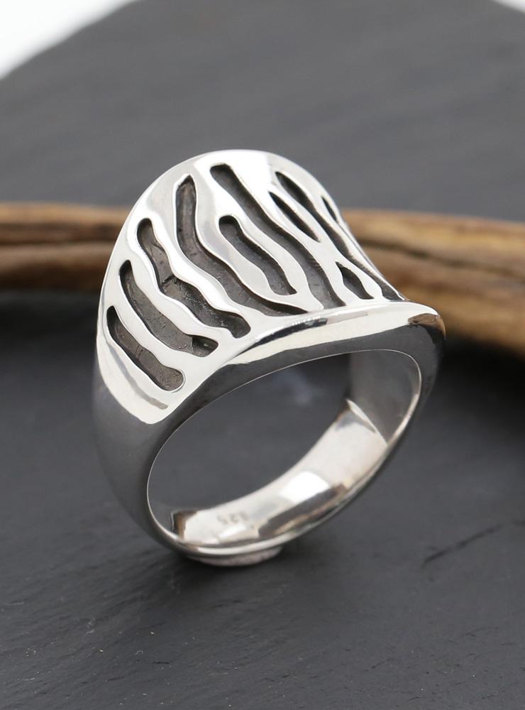 Zebra Ring Silber