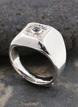 Ring Boston Silber schwarzer Diamant