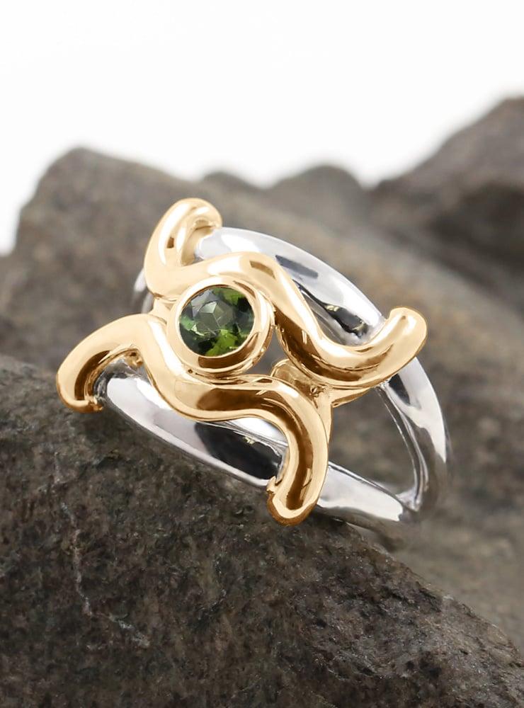 Ariane: Ring aus 925er Silber, 750er Gelbgold, Peridot