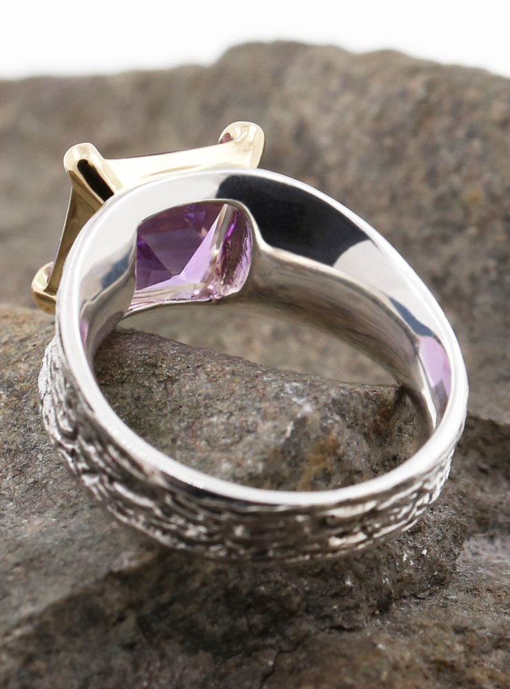 Medici: Bicolor Ring aus 925er Silber, 750er Gelbgold, Amethyst