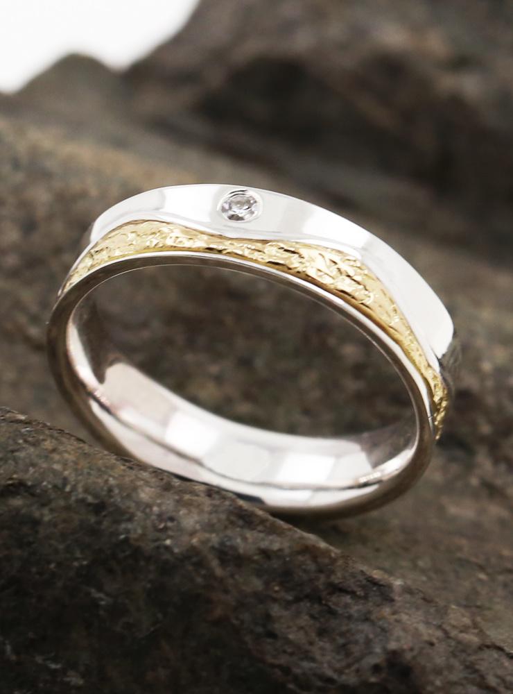 Venus: Bicolor Ring aus 925er Silber, 750er Gelbgold und Diamant