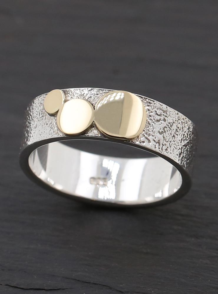 3 Kreise: Bicolor Ring aus 925er Silber und 585er Gold
