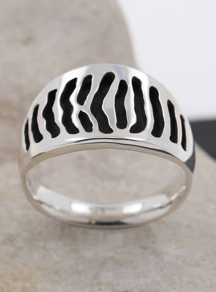 Zebra Ring schmal Silber