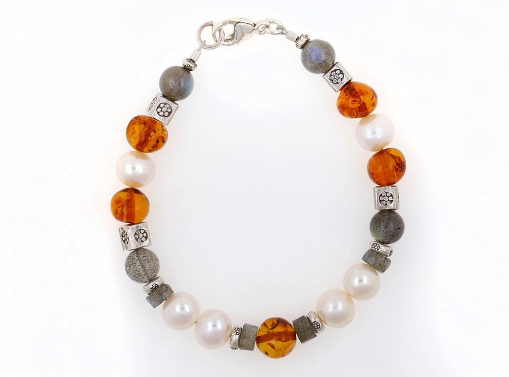 Armband Labradorit, Bernstein, SW-Perle und Silberelemente, groß