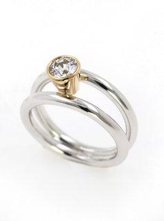 Halbkaräter Ring Clarity Bicolor Diamant