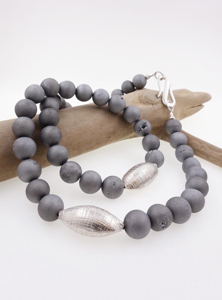 Halskette Geoden-Achat Silber
