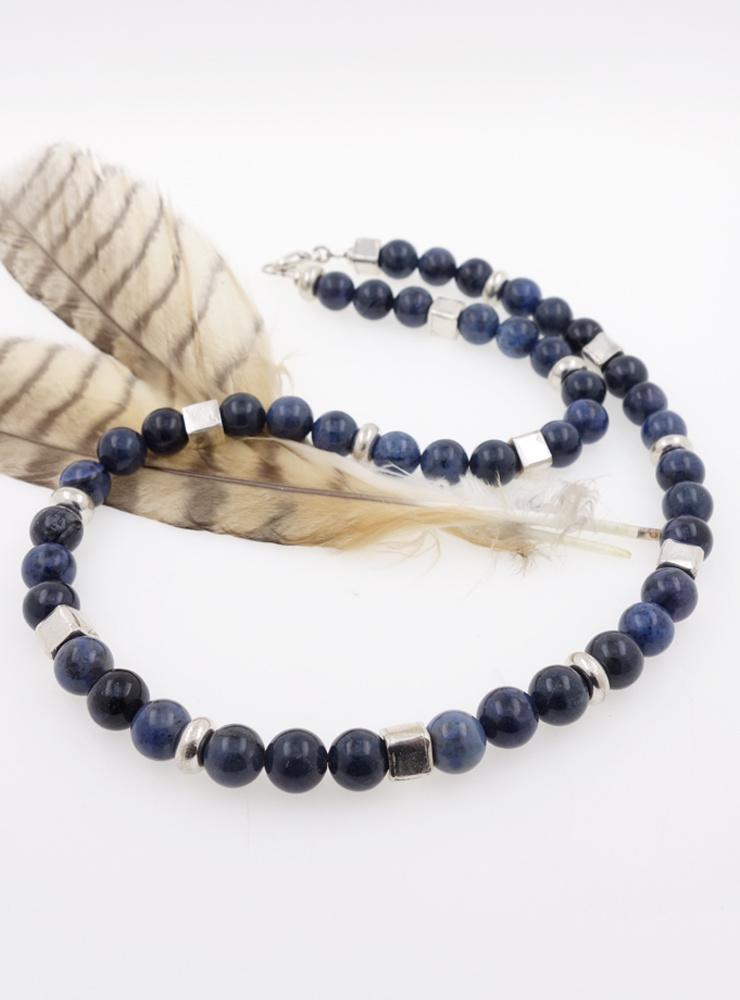 Halskette aus Dumortierit und Silberelementen