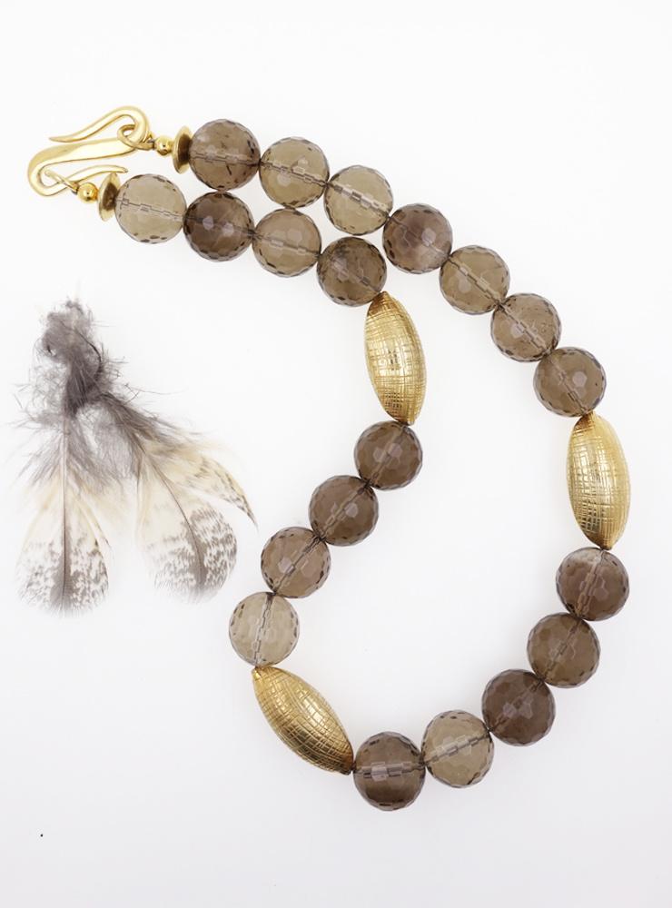 Halskette Rauchquarz Silber vergoldet