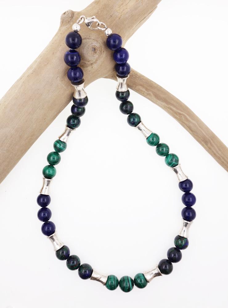 Halskette aus Lapislazuli-, Malachit-, Azurit-Malachit-Kugeln und Silber
