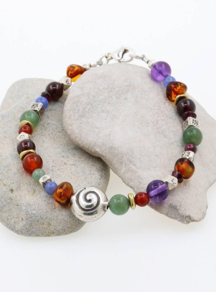 Armband Silberschnecke, Farbedelsteine