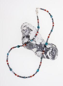 Halskette Hämatit, Türkis, Carneol, Silber