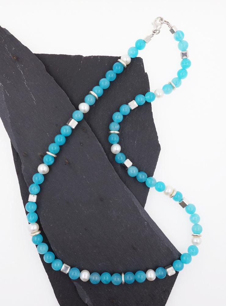 Halskette aus Amazonit, Süßwasserperle und Silber