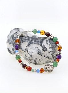 Armband Silbermuschel, Farbedelsteine