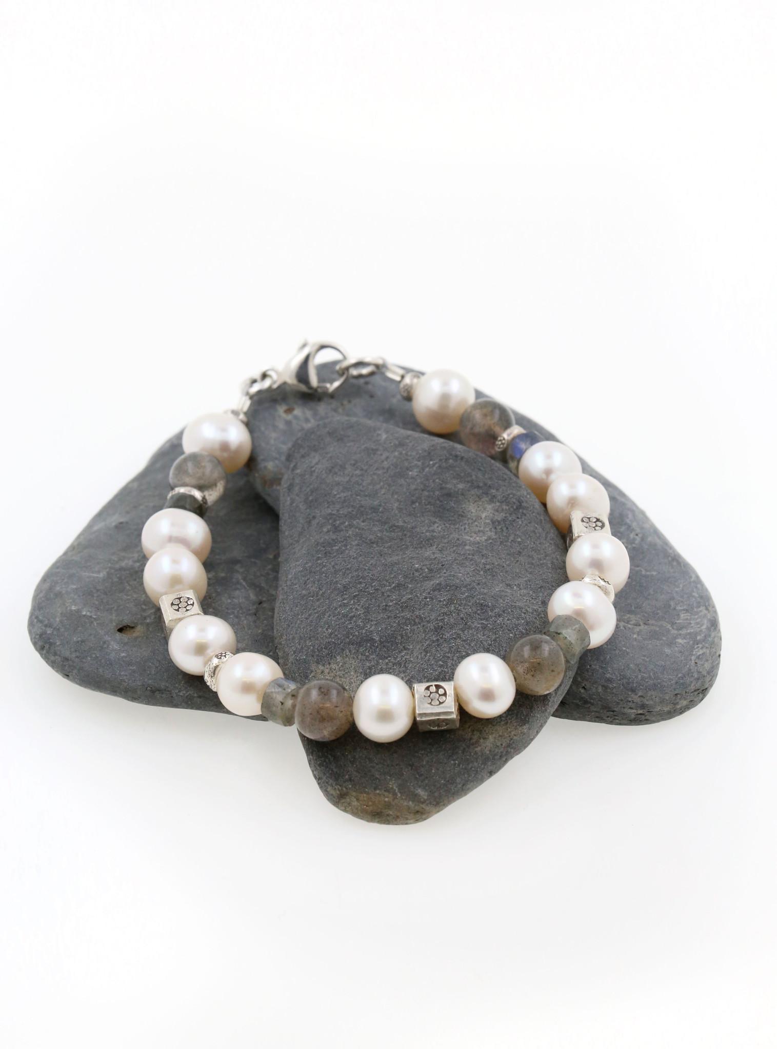 Armband Labradorit, SW-Perle, Silberelemente, groß